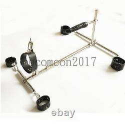 BDSM Role Play Spreader Bar Collar Restraint cuffs Lockable Bondage Rack Device