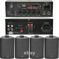 Bedroom Bluetooth Music System 4x Black Speakers & 110W Amp Background Audio