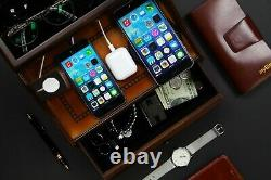 Decorebay Pecan Brown Wooden Multi-Device Charging Station and Valet