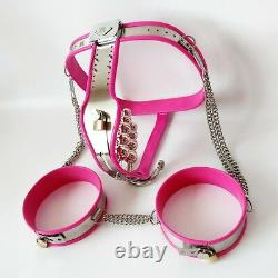 Full Female Chastity Belt/Device with thigh cuffs and extras PINK 65 90 cms