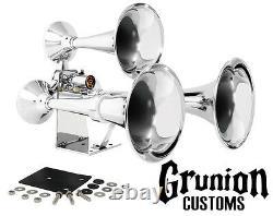 Grand General 69991 Chrome Heavy Duty Train Horn Triple Brass Trumpets