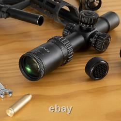 Hiram 1-4x24mm First Focal Plane Rifle Scope MOA Reticle Anti-Reflection Devices